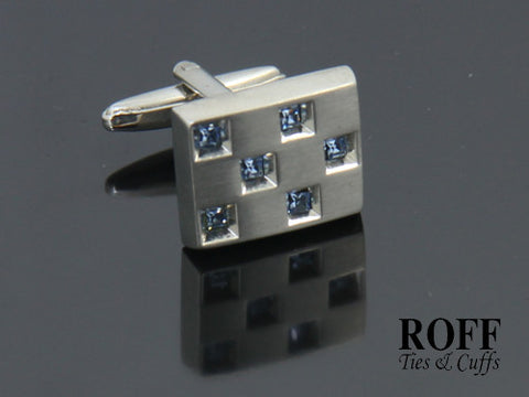 Blue Crystals Rectangle Cufflinks