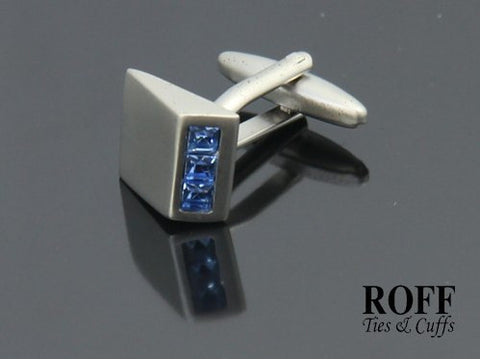 Blue Crystals Wedge Cufflinks