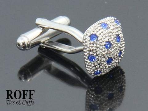 Classic Raised Square Cufflinks - Blue Crystals