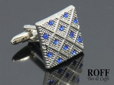 Blue Crystals Checker Cufflinks