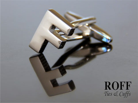 Metal Alphabet Cufflinks (F) - Read Description for Order Details