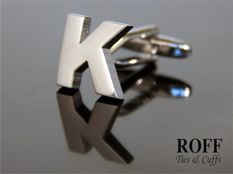 Metal Alphabet Cufflinks (K) - Read Description for Order Details