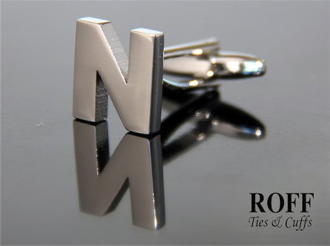 Metal Alphabet Cufflinks (N) - Read Description for Order Details