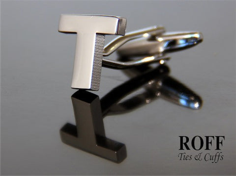 Metal Alphabet Cufflinks (T) - Read Description for Order Details