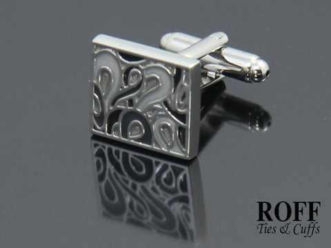 Grey Tones Floral Cufflinks