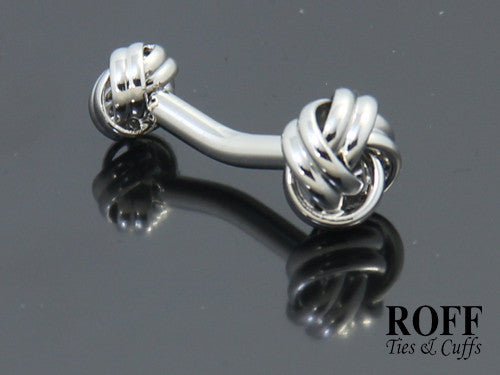 Classic Double Ended Silver Knot Cufflinks