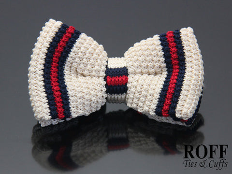Knitted Vertical Contrast Stripes Bow Tie