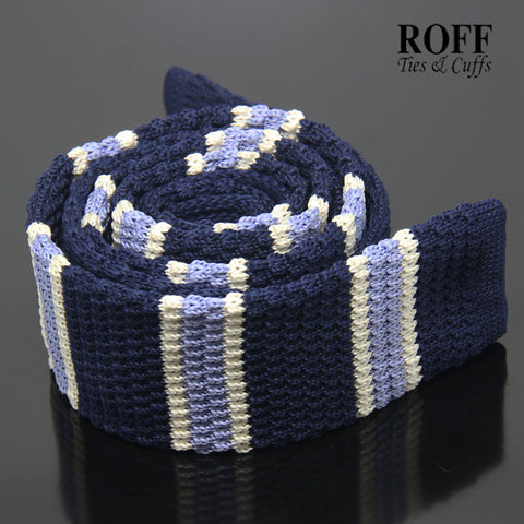 Navy Blue Knitted Tie with White and Light Blue Block Stripes