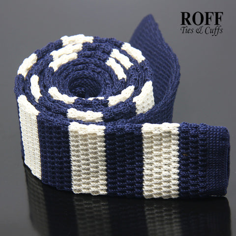 White and Navy Blue Horizontal Stripes Knitted Tie