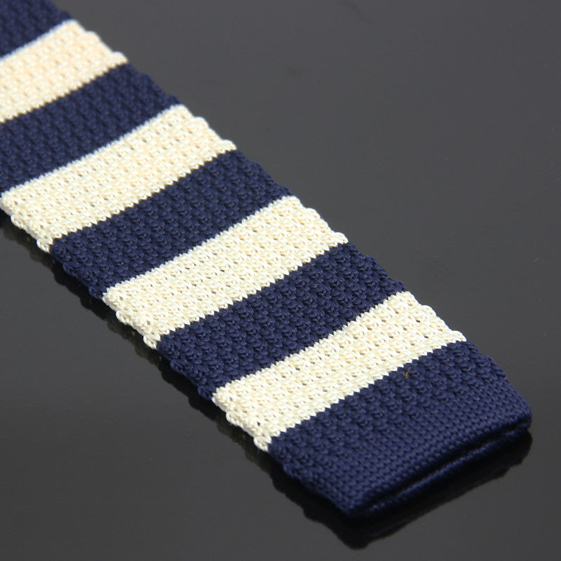 e21279eeb80 White and Navy Blue Horizontal Stripes Knitted Tie – Roff Ties   Cuffs