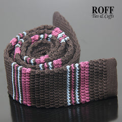 Brown Knitted Tie with Fuchsia and Light Blue Stripes