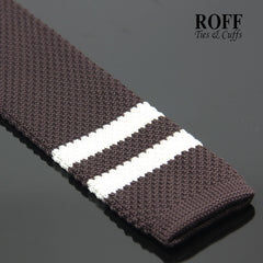 Brown Knitted Tie with Duo White End Stripes