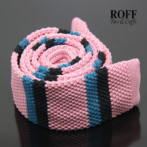 Pink Knitted Tie with Blue and Black Stripes