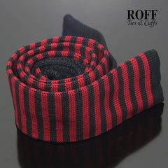Red and Black Thin Stripes Knitted Tie