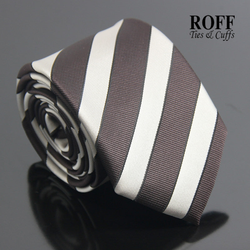 Basic Silver and Brown Striped Tie
