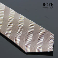 Brown Tie with Textured Stripes