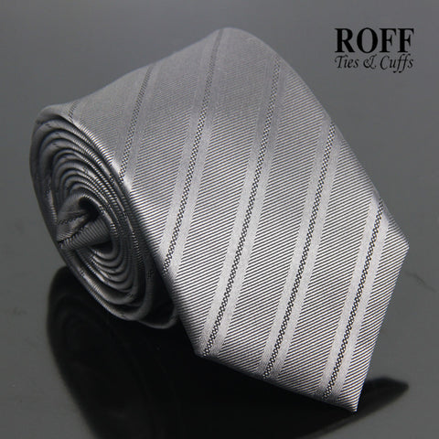 Charcoal Grey Striped Tie