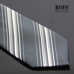 Charcoal Grey Tie with Multi Stripes