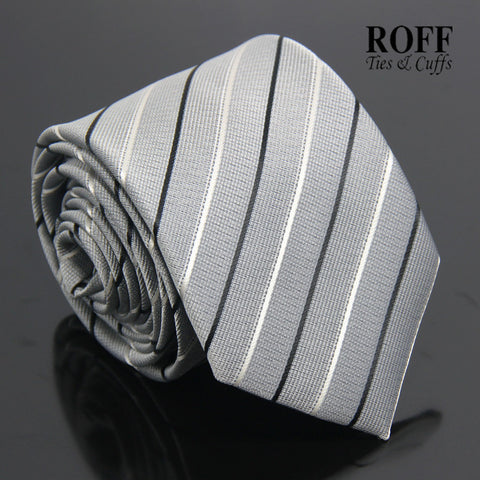 Grey Tie with Black and White Stripes