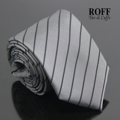 Basic Grey Tie with Thin Black Stripes