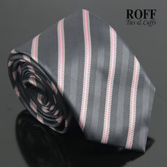 Charcoal Grey Tie with Pink Stripes