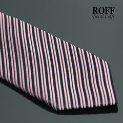 Black Tie with Maroon and Dusky Pink Stripes