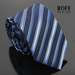 Alternating Stripes Navy Blue Tie
