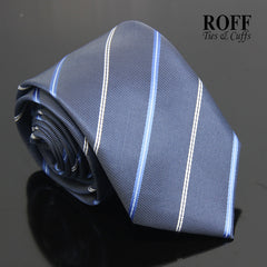 Greyish Blue Tie with Blue and White Stripes