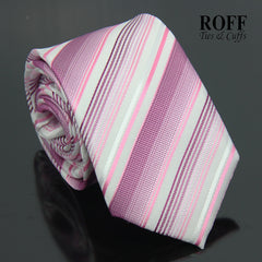 White Tie with Pink Tones Multi Stripes