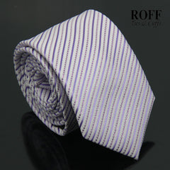 Catchy White Tie with Fine Purple Stripes