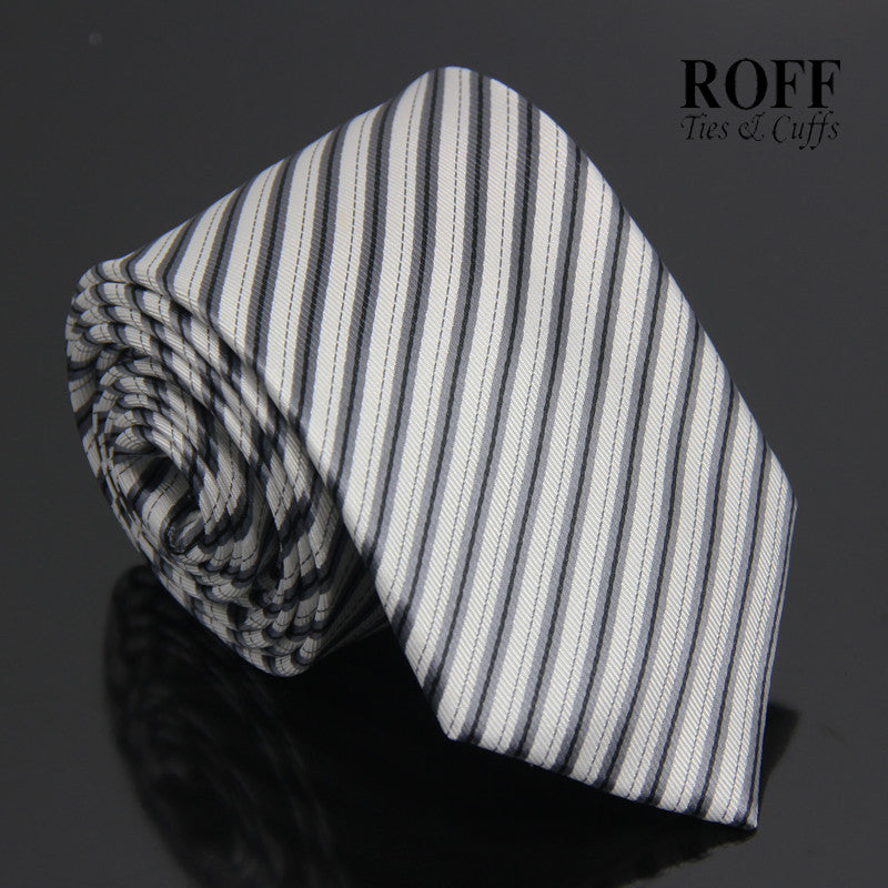 White Tie with Black and Grey Stripes