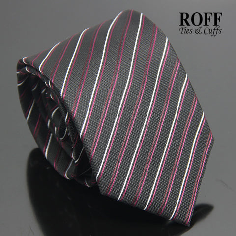 Black Tie with Thin Burgundy and White Stripes