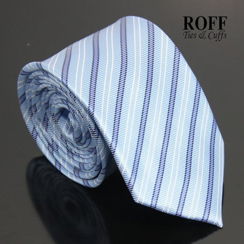 Sky Blue Tie with Blue and White Stripes