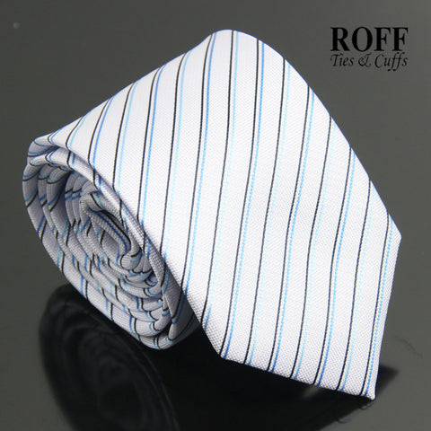 Light Blue Tie with Thin Black and Blue Stripes
