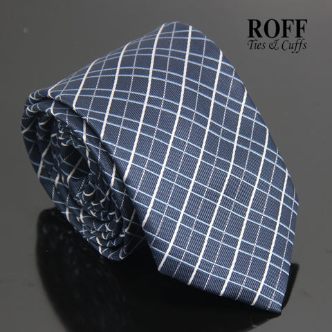 Navy Blue Tie with Blue and White Checkered Lines