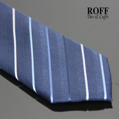 Navy Blue Tie with Thin Blue and White Stripes