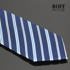 Navy Blue Tie with Sky Blue and White Stripes