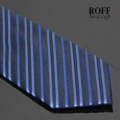 Dark Blue Tie with Metallic Blue Stripes