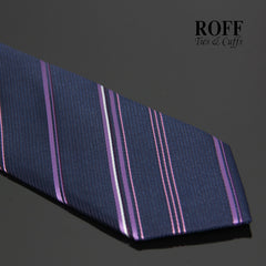 Navy Blue Tie with Purple and White Stripes