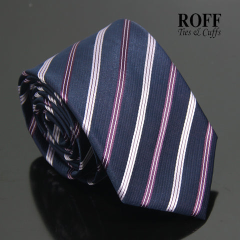 Navy Blue Tie with Purple and Lilac Stripes
