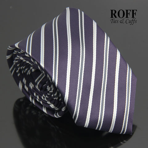 Dark Purple Tie with Grey and White Stripes