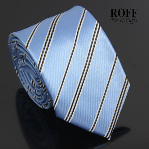 Metallic Blue Tie with Black and White Stripes
