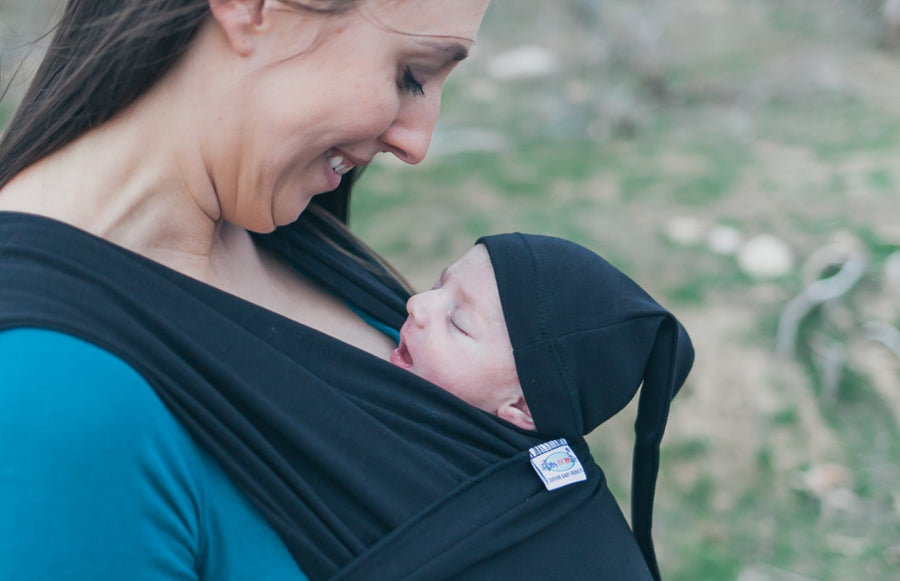Organic Stretchy Wrap Carrier Black (one way stretchy)