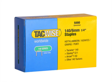 Tacwise 6mm & 8mm Type 140 series Galvanised staples for staple gun guns 0340
