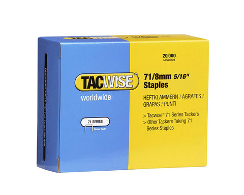 20000 Tacwise 8mm Type 71 series Galvanised staples for staple gun guns 0368