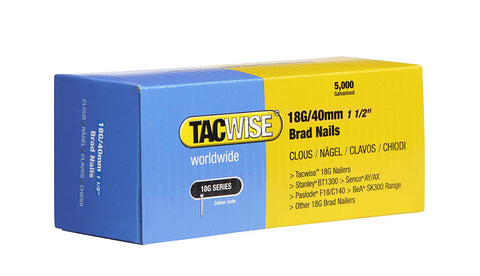 5000 Tacwise 18 Guage 40mm Brad Nails Galvanised for Nail Guns 18G - 0400