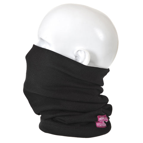 Portwest FR19 - Black Flame Resistant Anti-Static Neck Tube Snood Welding