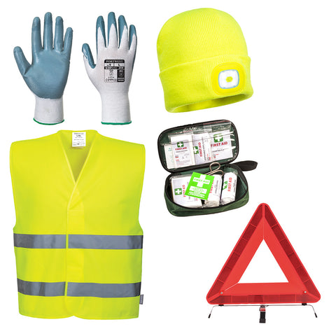 Portwest KIT40-   S/M Hi Vis Vehicle Breakdown Emergency Kit Triangle 1st Aid etc