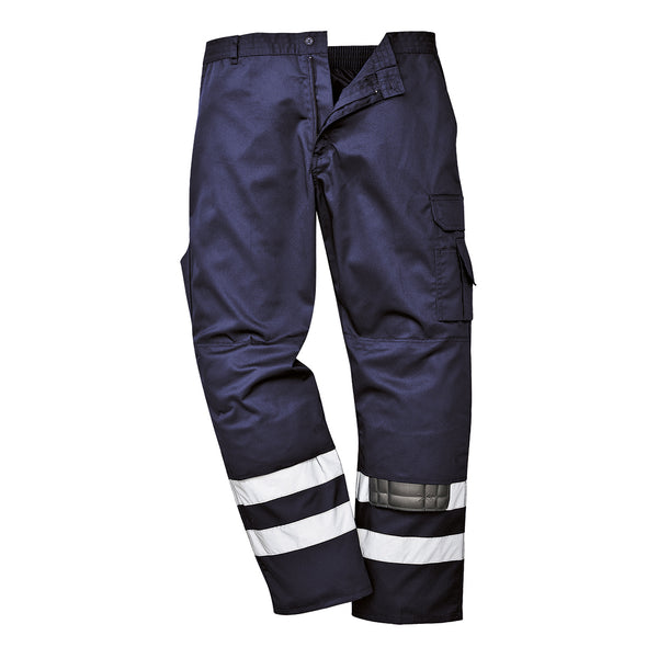 Portwest S917 - Navy Sz M Tall Leg Iona Safety Combat Work Trousers HI-Vis