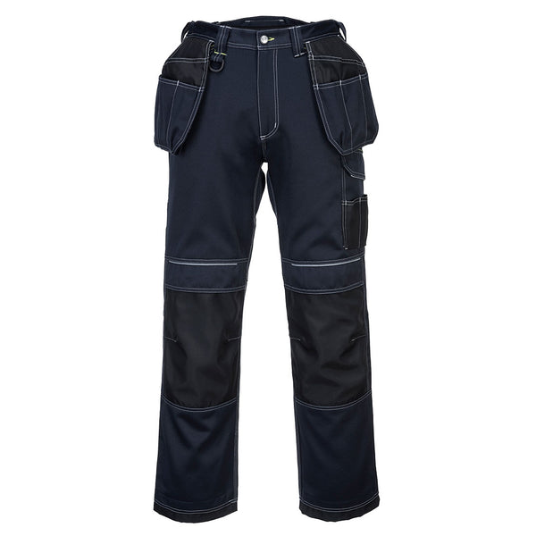 Portwest T602 - Navy/Black  33 Short PW3 Holster Work Trousers Combat Cargo Pants